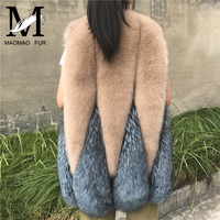 Lady Natural Fox Fur Vest Women Winter Real Fox Fur Gilet Genuine Fur Waistcoat Streetwear