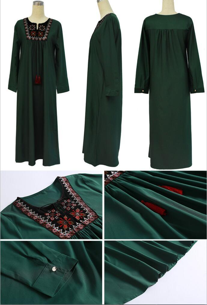 Muslim Dress Women Long Sleeve Embroidery Patchwork Abaya Loose Pakistan Free Plus Size Ethnic Arab Robe Islamic Clothing (3)
