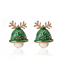Personalized Design Cute Green Epoxy Christmas Hat Stud Earrings For Women Lady Gold Plated Antler Christmas Jewelry T4322