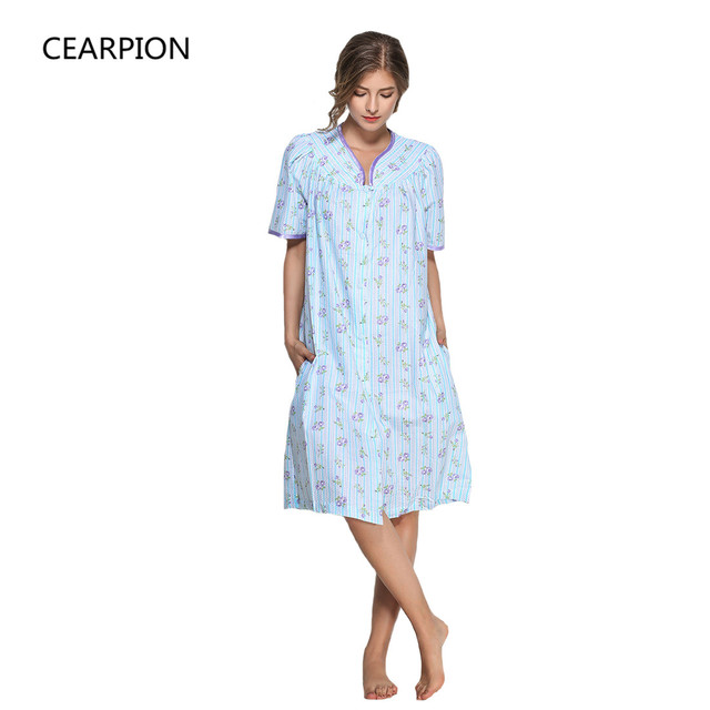 9838a855349d CEARPION Women Summer Home Dressing Gown Cotton Nightdress Print Flower  Nightwear Short Sleeve Sleepwear Soft Intimate