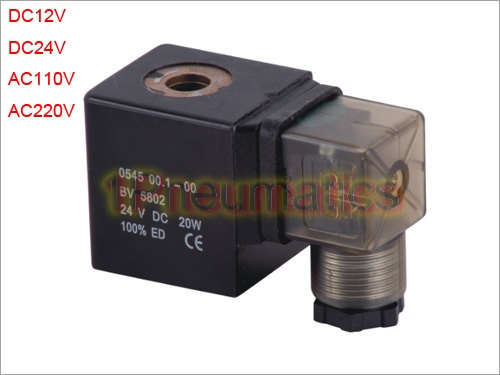 Free Shipping 2PCS/Lot Solenoid Valve COIL 0545 Model for PU Series Valve LED DIN43650A Connector DC12V DC24V AC110V or AC220V free shipping repairing part 3 pin din plug led solenoid valve connector ac 220v