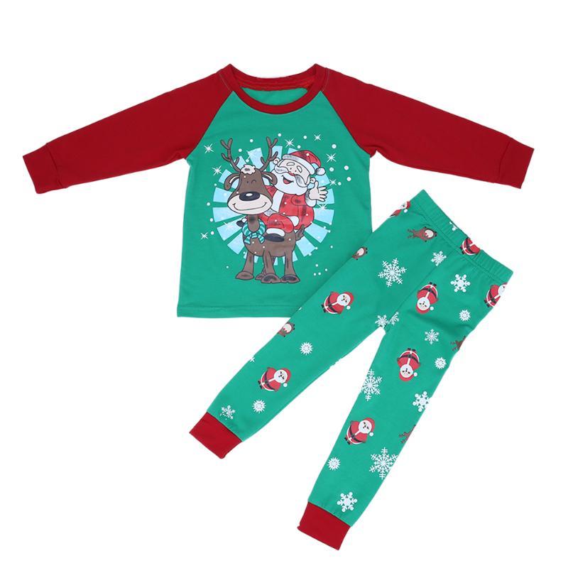 2Pcs Childrens Christmas Suit Kids Cartoon Deer Printing Clothes Set Cloth Suit Baby Pajamas Sleepwear Autumn Winter Home Suit
