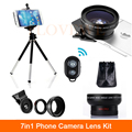 7in1 Camera Lentes Kit HD 12.5X Macro 0.45X Wide Angle Lens For Cell Phone iPhone 6 6s 7 Plus Xiaomi Clips Remote Mobile Tripod