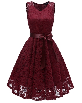 Women Floral Lace Pleated Vintage Sleeveless V-Neck Elegant Party Sexy Retro 2018 Summer Robe Big Swing Dress Suit