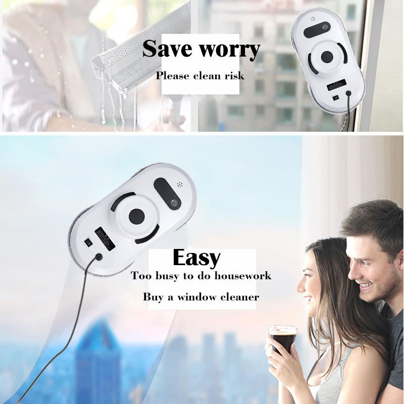 (Ship from RU CN) Robot window cleaner anti-falling smart window glass cleaner wall cleaner robot vacuum cleaner remote control wet and dry function auto clean anti falling magnetic electric window cleaner robot