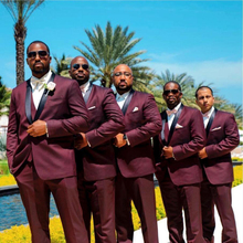 African Burgundy Mens Suit for Wedding Black Shawl Lapel Groom Tuxedos 3 Pieces Jacket+Pants+Vest Best Man Groomsmen