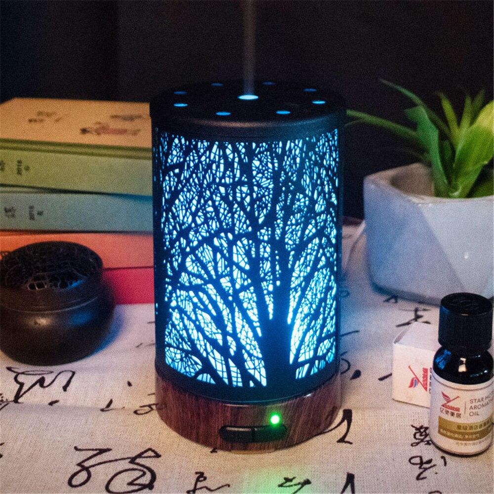 Metal Essential Oil Diffuser 100ml Aroma Diffuser Ultrasonic Aromatherapy Humidifier Cool Mist Maker For Home Office Escritori
