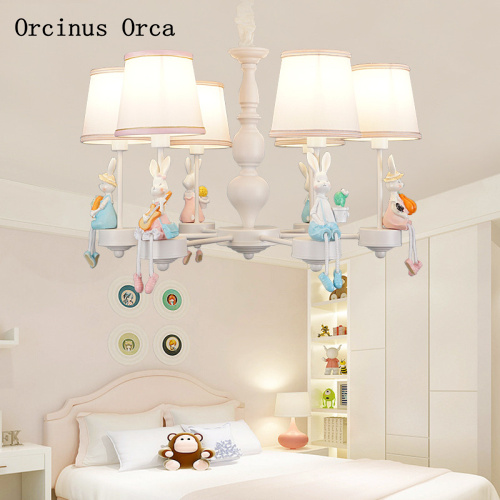 Мультфильм творческий маленькая белый кролик люстра девушка Спальня Детская комната лампа корейский пасторальный светодиодный животного