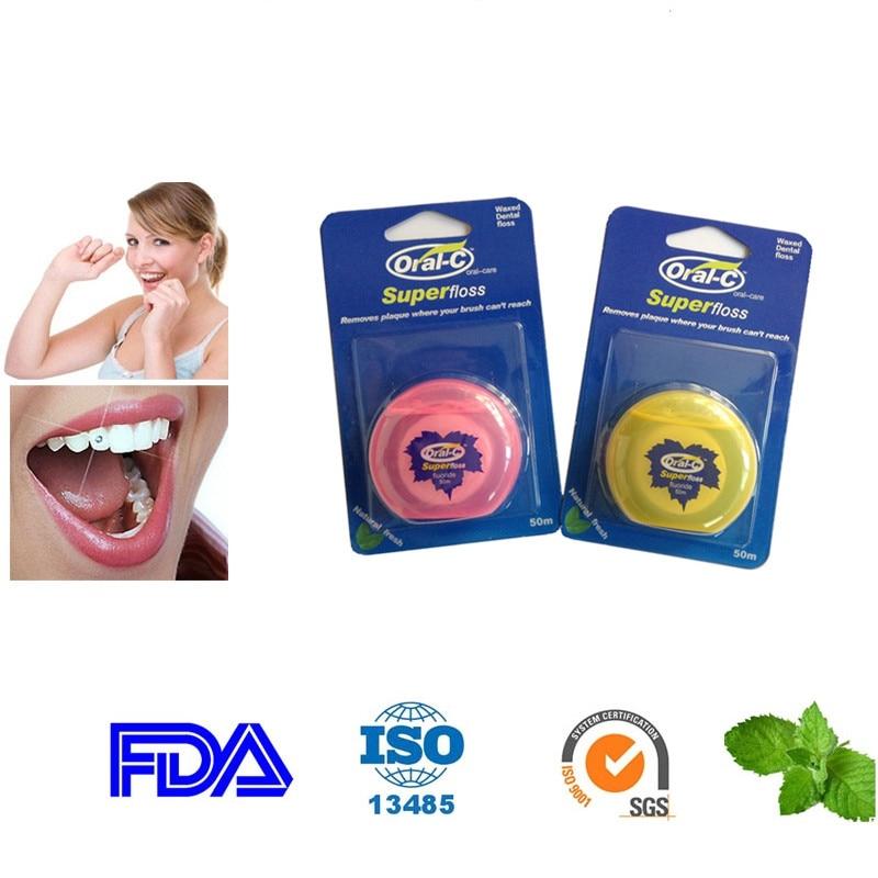 10 шт. х 50 м сменная зубная нить и 50 м коробка зубной нити круглой формы для чистки зубов Гигиена полости рта