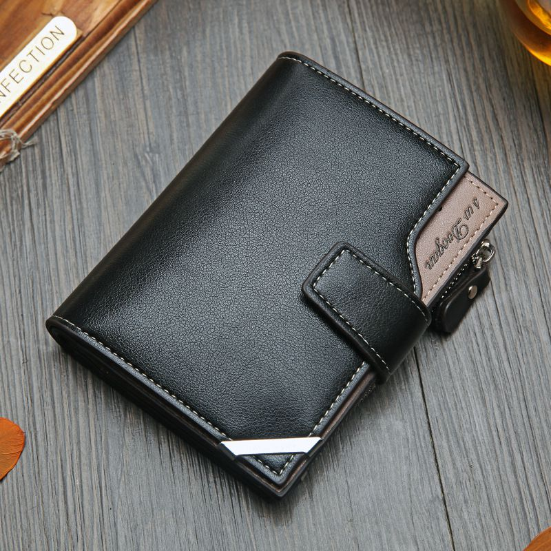 NO.ONEPAUL Vintage Men's Short Wallet Men Genuine Leather  Multi-Card Bit Retro Card Holder Clutch Wallets Purses First Layer Re