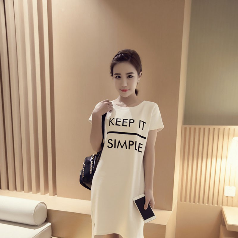 Women New Printed Letter Keep It Simple Summer Dress Casual O Neck Short Sleeve Dresses Fashion Cotton Loose T Shirt Dress