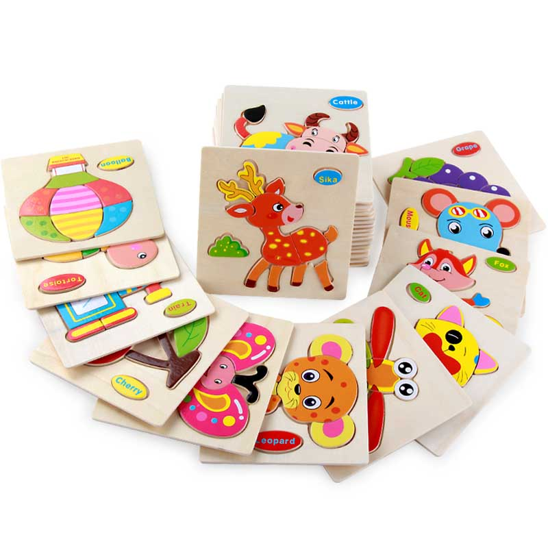 Lovely Wooden Toys Building Puzzle Blocks For Baby Educational Montessori Jigsaw Puzzel For Children Animal Baby Training Toy