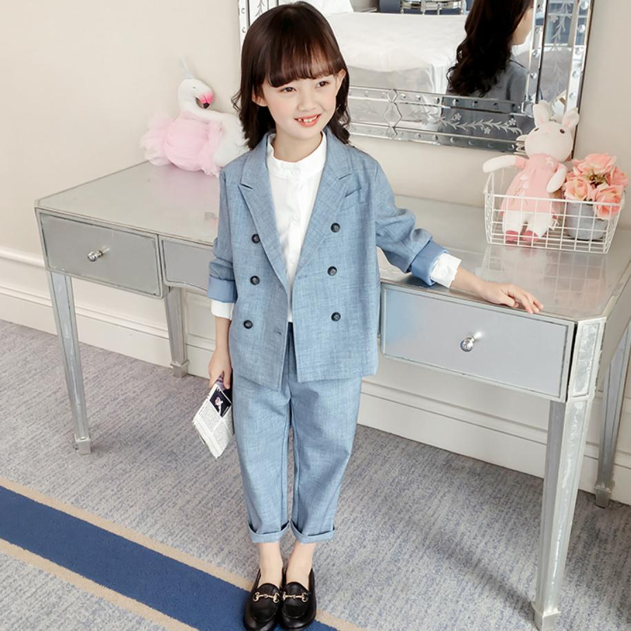 Spring Girls Blazer Sets Fashion Double breasted Suits Coat Children s Long Sleeve Outwear Jacket pants