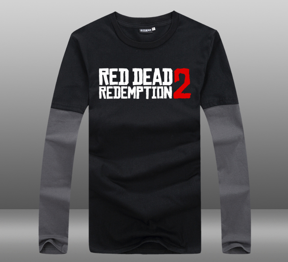 0c4576db936c9 2018 Game Red Dead Redemption 2 T-shirts Long Sleeve Contrast Color O-Neck  Cotton Mens Casual Tops Tee Shirts Clothing