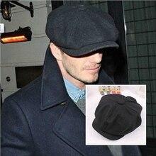 KLV 58cm Wool Tweed Gatsby Cap Mens Ivy Hat Driving Winter Sun Flat Cabbie Newsb