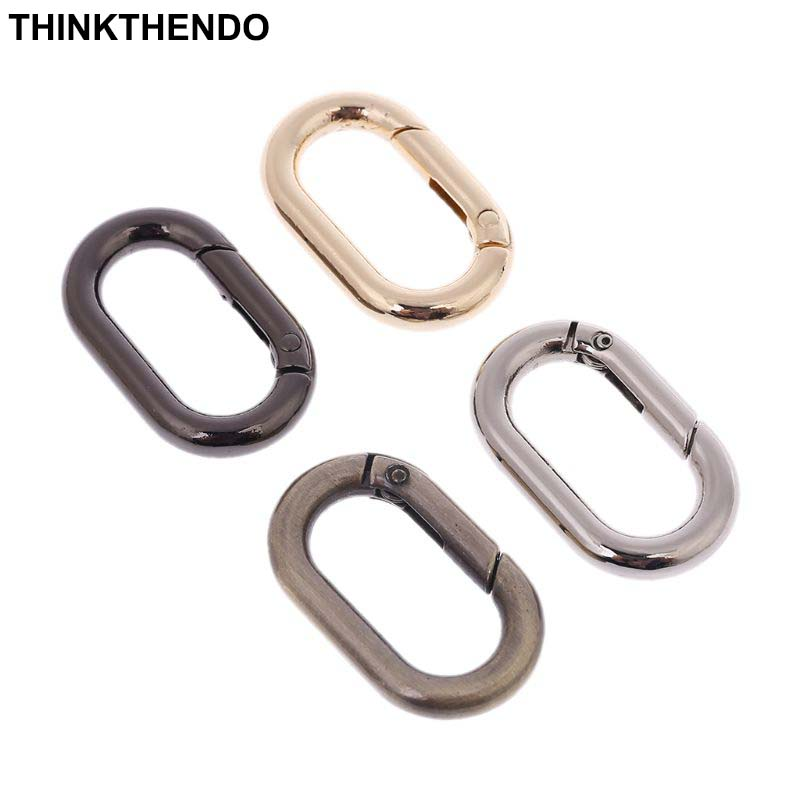 2 Pcs Metal Spring Oval Ring Keyring Leather Bag Belt Strap Buckle Dog Chain Snap Clasp