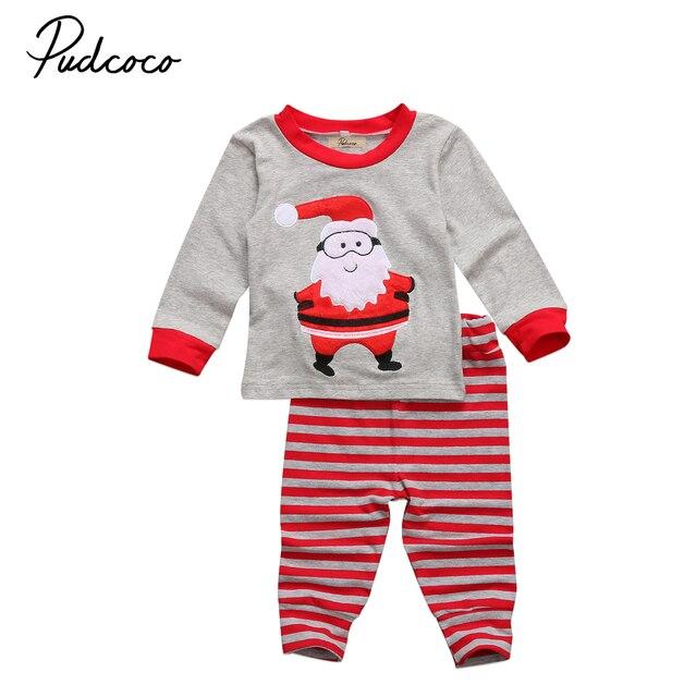 beb50d9c48 Christmas Kids Boy Santa Claus Sleepwear Pajamas Set Long Sleeve T shirt  Tops+Striped Pants