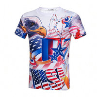 2017 Summer 3D American Flag Memorial Independence Day Original Printing Shirts Men 3D Print Pattern Casual Short Sleeve T-shirt