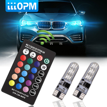 hot deal buy 2 pieces t10 w5w led car lights led bulbs rgb with remote control 194 168 501 strobe led lamp reading lights white red amber 12v