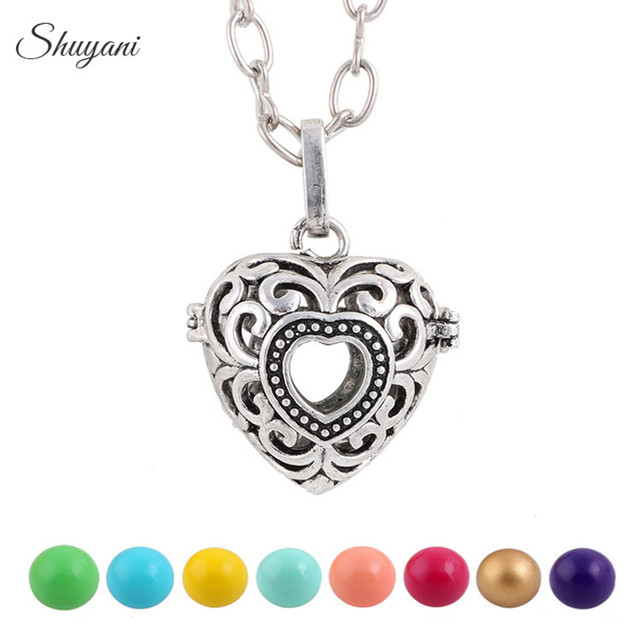 10pcs fashion antique silver plated hollow heart locket sound bell fashion antique silver plated hollow heart locket sound bell harmony ball pendant necklace aloadofball Image collections