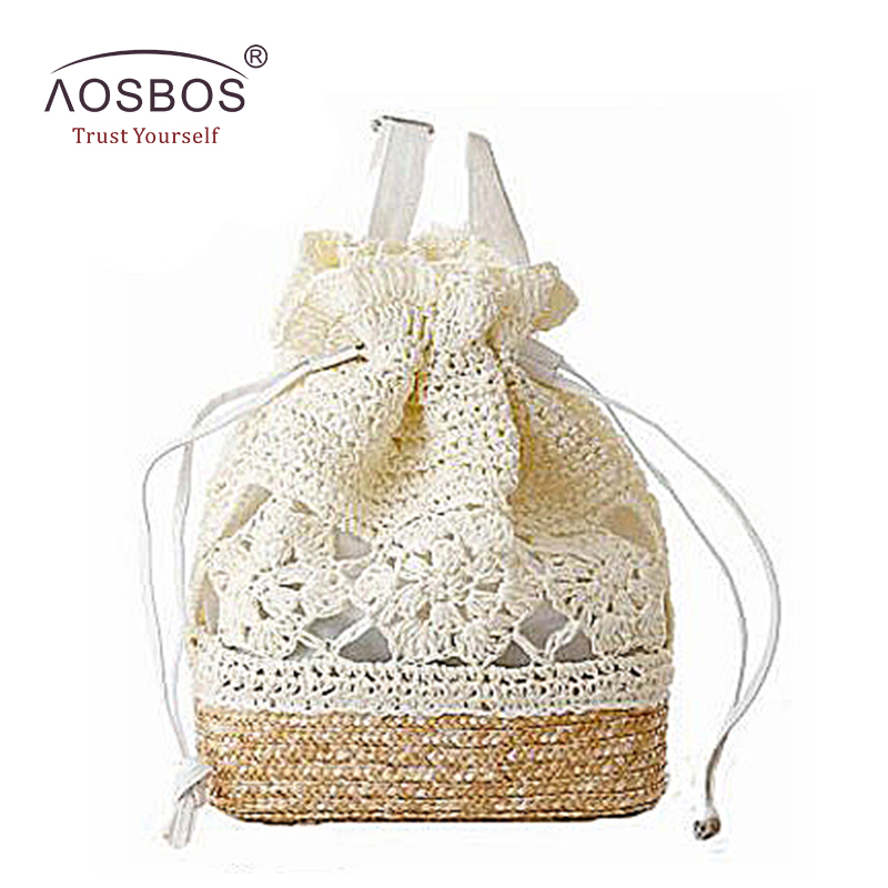 New Drawstring Straw Beach Bags Female Handmade Fashion Printing Travel Backpack Girls Summer Fresh Floral Double Shoulder Bags handmade flower appliques straw woven bulk bags trendy summer styles beach travel tote bags women beatiful handbags