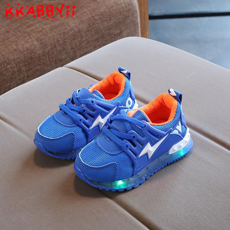 New European Girls Boys Shoes LED Lighting Shining Children Shoes Casual Cool Glowing Ba ...
