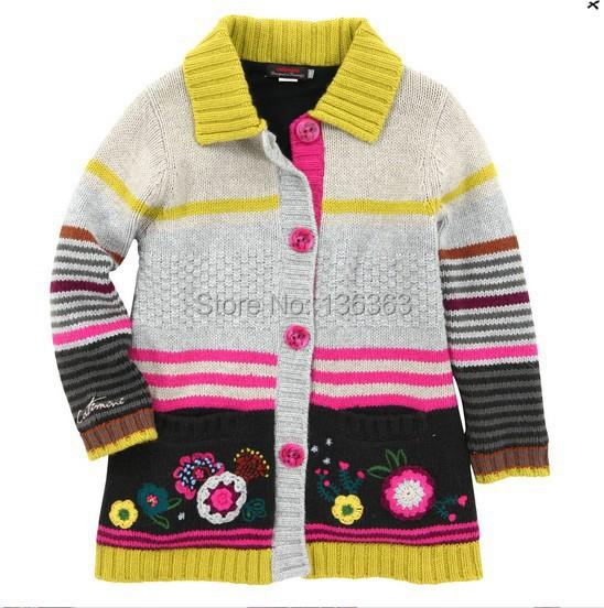 Catimini niñas ropa 2014 otoño niña manga larga algodón tejidos de punto tee capa del suéter de la chicas enfant