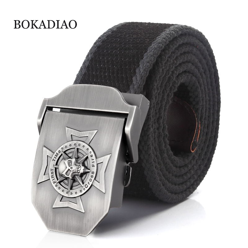 BOKADIAO Men&Women Military Canvas   belt   luxury waistband Skull Cross Metal buckle jeans   belt   Army tactical   belts   for Male strap