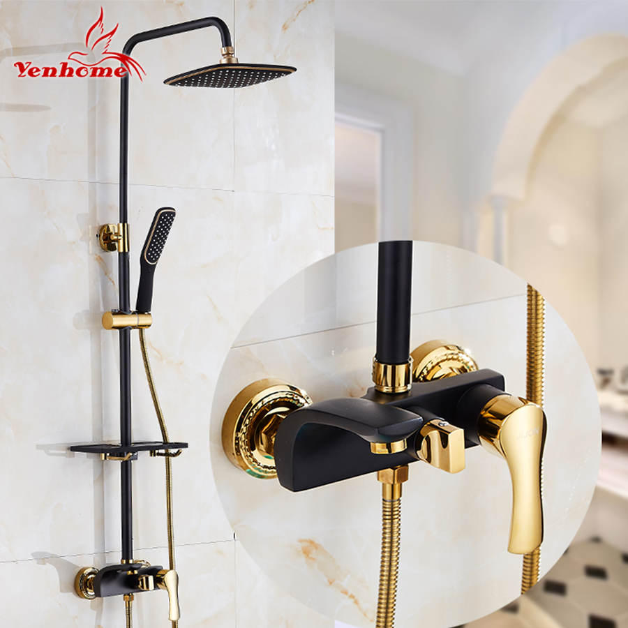 Top Quality Black Golden Pattern Wall Mounted Bath Shower Faucets Set Bathroom Mixer Shower Bathtub Taps Rainfall Shower Head 8 led bathrome bathtub rainfall shower head polished wall mounted swivel mixer taps shower faucets set chrome finish