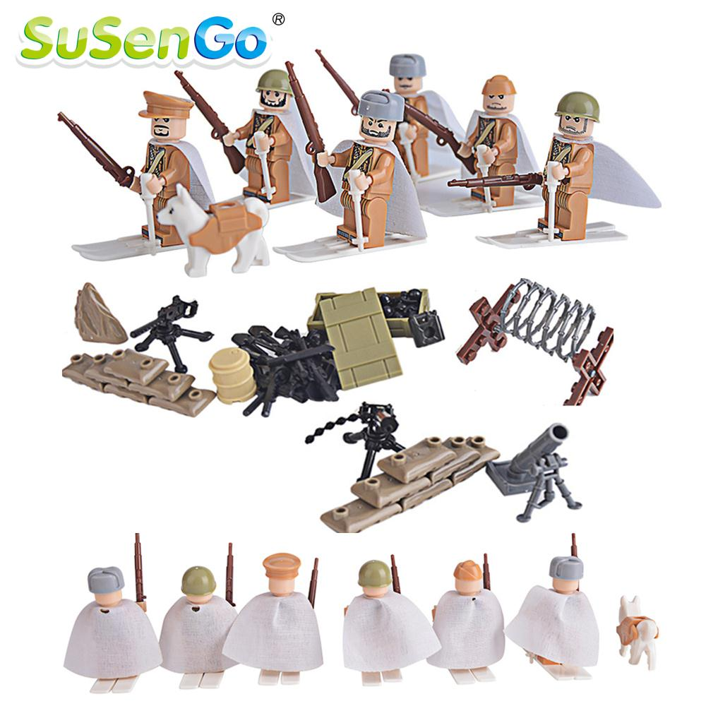 Military Toys Soviet Soldiers Figures  Mini Weapon Bricks  Kids Building Blocks Model SuSenGo Brand kazi 228pcs military ship model building blocks kids toys imitation gun weapon equipment technic designer toys for kid