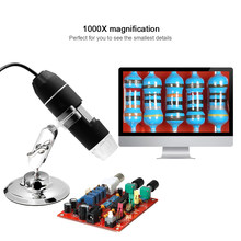 USB Digital Zoom Microscope Magnifier with OTG Function Endoscope 8-LED Light Magnifying Glass 1000X Magnification with Stand(China)
