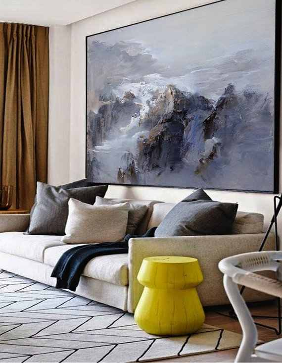 Extra Large wall art Abstract Painting Contemporary Art Blue Oil