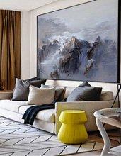 اضافية كبيرة جدار الفن التجريدي المعاصر الفن الأزرق وحة زيتية كبيرة قماش الفن اللوحة على قماش المشهد اللوحة