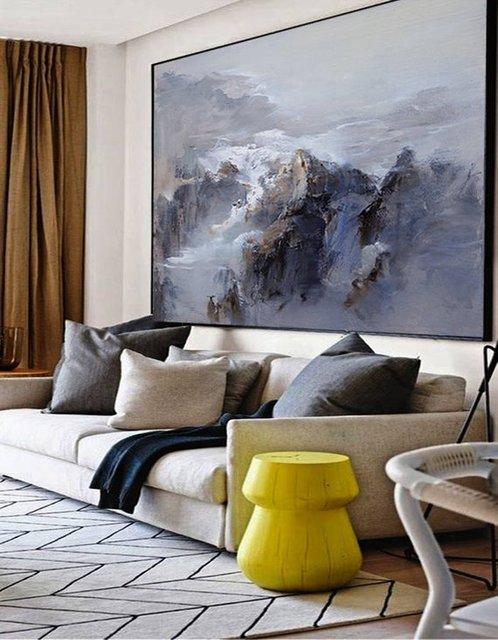 特大の壁アート抽象絵画現代アートブルー油絵大キャンバスの芸術の絵画キャンバス風景画