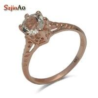 Szjinao Unique Custom Women Jewelry Luxury Elegant Natural White Zircon Rose Gold 925 Silver Wedding Rings Wholesale