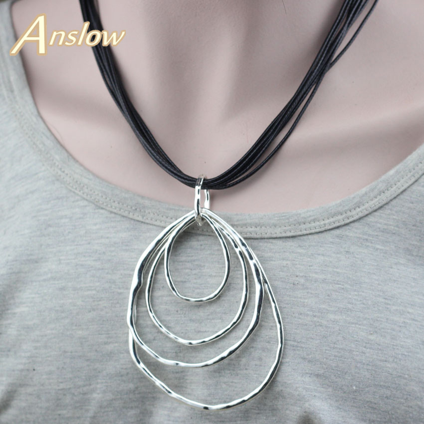 Anslow New Design Fashion Jewelry Antique Silver Plated Water Drop Collar Statement Necklace Pendant Black Friday LOW0042AN