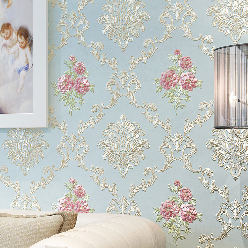 European Rustic Wall Papers Home Decor 3D Damascus Embossed Floral Wallpaper Roll for Bedroom Walls Mural Contact Paper