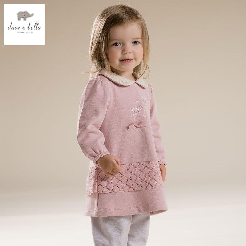 DB2773 dave bella spring baby girl pink Princess dress infant clothes girls crystal party dress baby birthday dress kid clothes цены онлайн