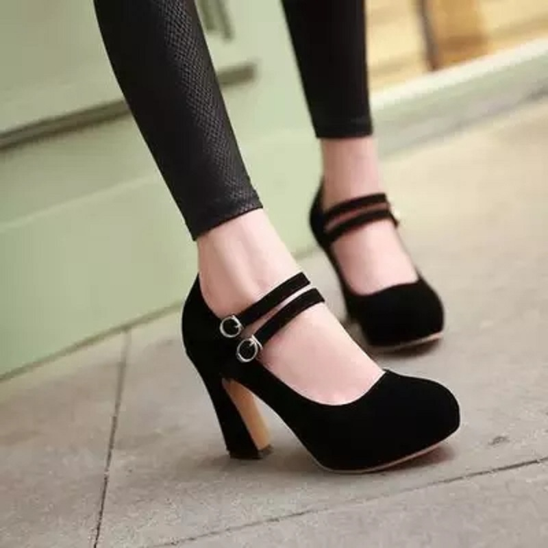 2018 Spring and Autumn new fashion women's simple waterproof platform with thick thick rough Mary Jane single shoes.