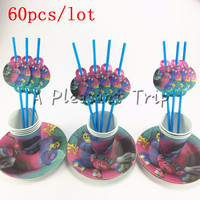 60pcs Lot Trolls Cartoon Baby Shower Decoration Birthday Party Straws Trolls Theme Paper Cups Kids Favors