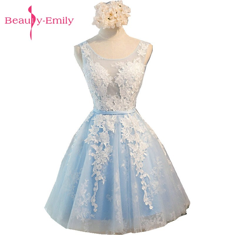 Beauty-Emily Light Sky Blue Lace Short Prom Dresses 2018 Tulle A-Line Applkiques Lace-Up Cocktail gow Party homecoming dress