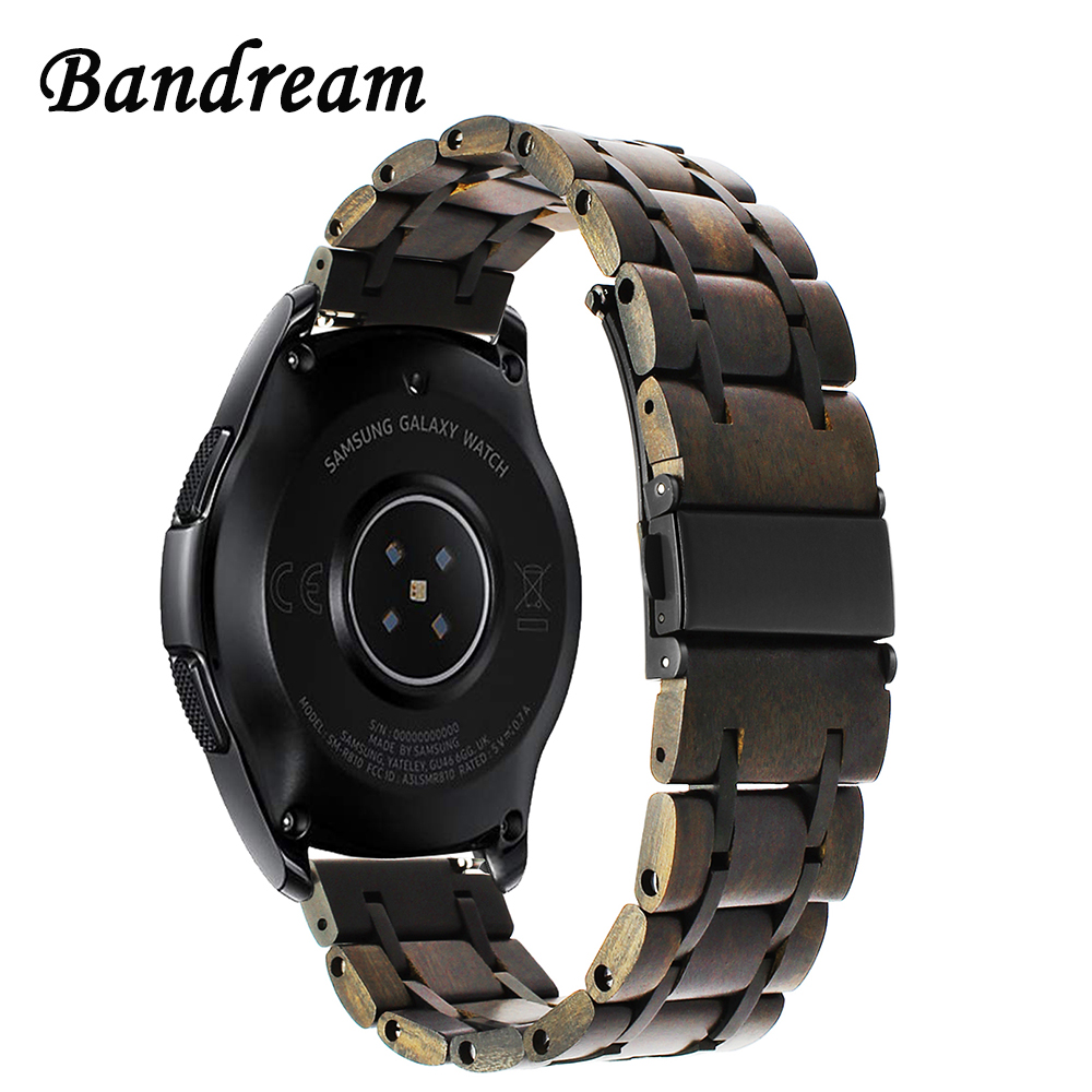Nature Wood + Stainless Steel Watchband 20mm 22mm for Samsung Galaxy Watch 42mm 46mm SM-R810/R800 Quick Release Band Wrist Strap ceramic stainless steel watchband universal quick release watch band butterfly clasp wrist strap 12mm 14mm 16mm 18mm 20mm 22mm
