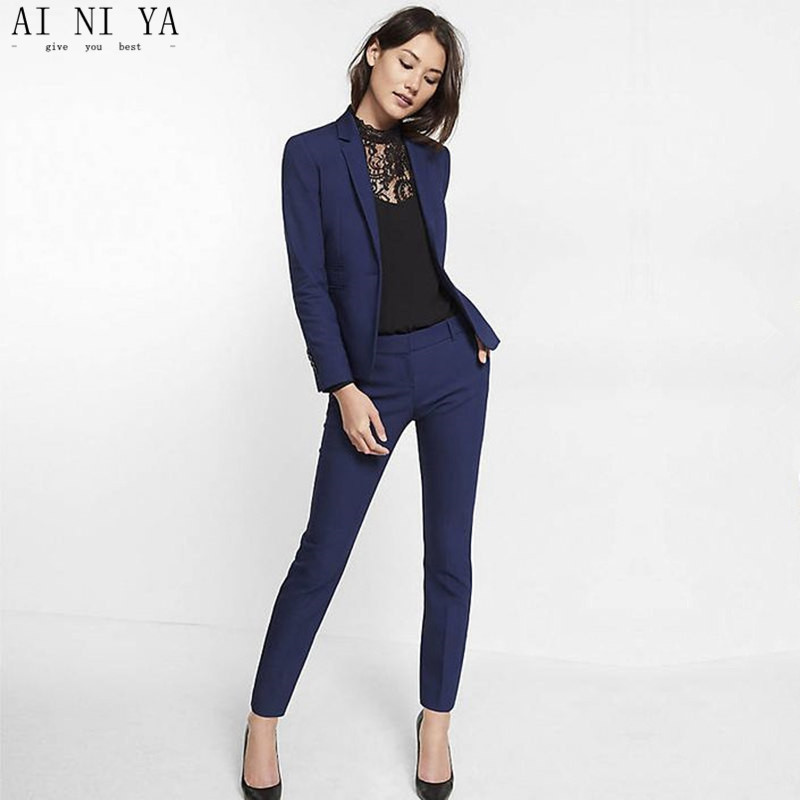 Navy Blue Womens Suit Slim Fit Women Tuxedos Shawl Lapel Suits For Women One Button Formal ...