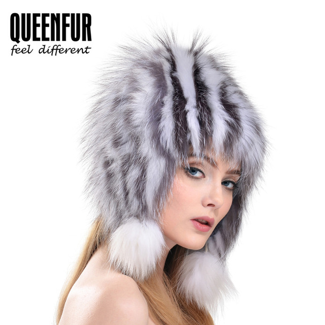 QUEENFUR 2016 New Brand Natural Fox Fur Ear Protector Cap With Fox Fur Pom Poms Hat Winter Real Knit Fox Fur Headgear Bomer Hat
