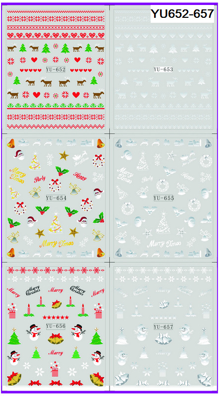Impartial 6 Pack/ Lot Water Decal Nail Art Nail Transfer Sticker Xmas Christmas Santa Clause Deer Yu652-657 Delicious In Taste Beauty & Health Stickers & Decals