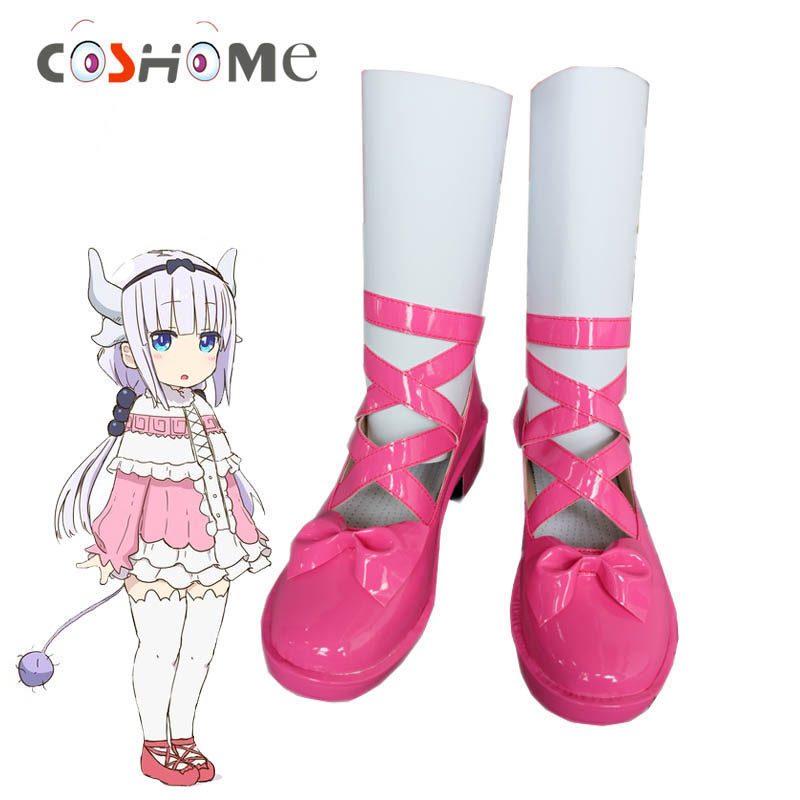 Coshome Kobayashi-san Chi No Maid Dragon Maid Kamui Kanna Cosplay Costume <font><b>Shoes</b></font> <font><b>Red</b></font> Pink Boots Women <font><b>Lolita</b></font> <font><b>Shoes</b></font> image