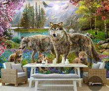 Custom 3d wallpaper gray wolf dogs modern beautiful peach blossom wallpaper non-woven 3d wallpaper walls(China)