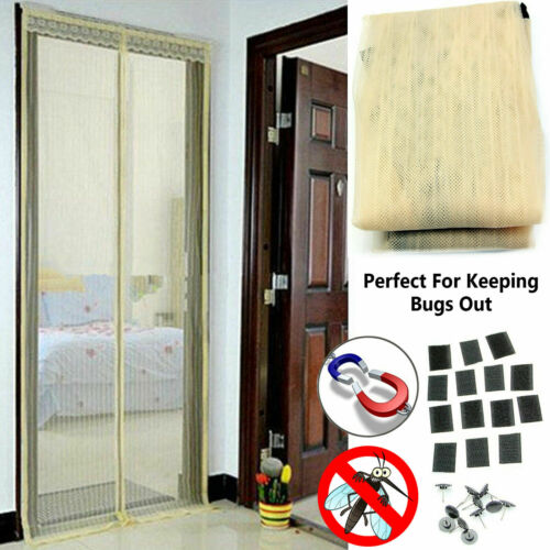 MAGNETIC DOOR MESH CURTAIN SCREEN FLY BUG INSECT MOSQUITO HANDS FREE MAGIC NET