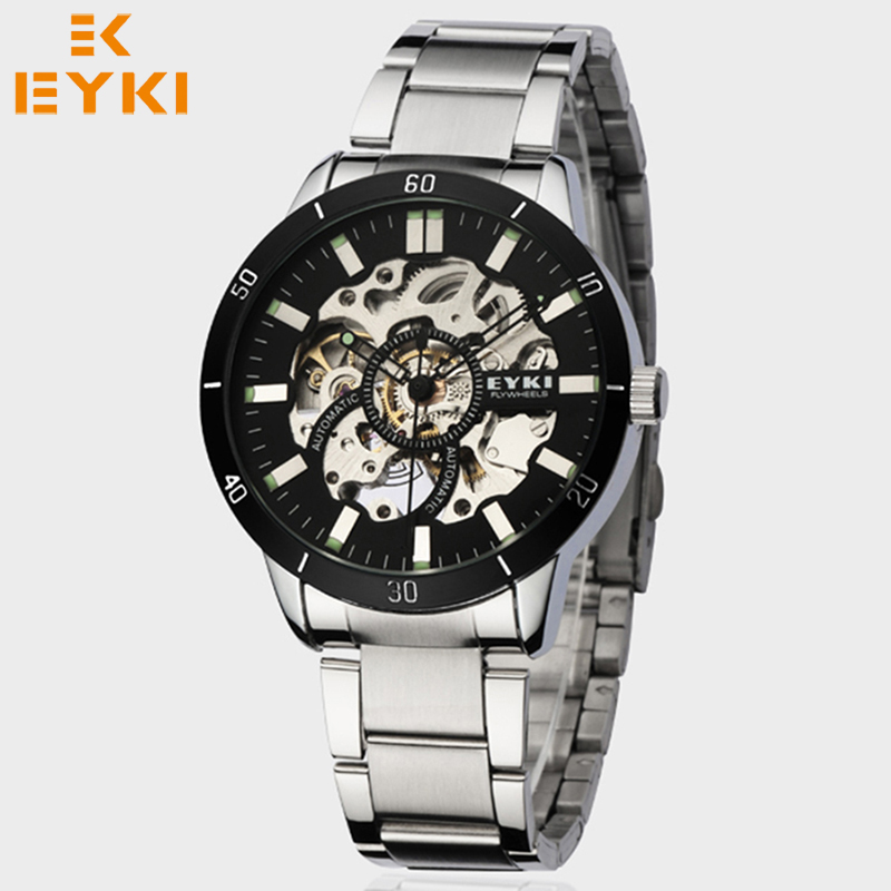 ФОТО EYKI 2017 Top Selling Men Watches Automatic Mechanical Watch Man Luxury Brand WristWatch Full Metal Strap Classic Relogio Hombre