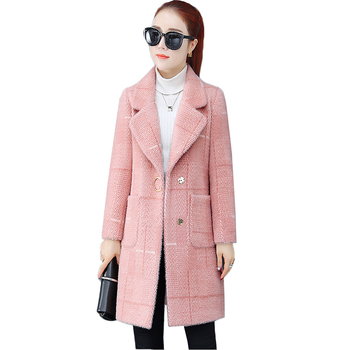 Autumn Winter Plaid Woolen Coat Women Korean New Fashion Thick Imitation Water Velvet Loose Plus size Wool Coat Women Outerwear